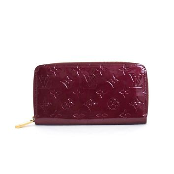 Authentic LOUIS VUITTON Vernis Zippy.Wallet Rouge Fauviste Long Wallet M91536