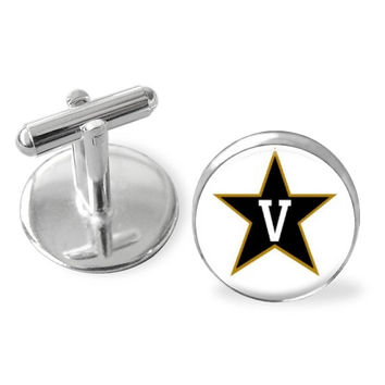 Vanderbilt University cuff links, tie bar, tie clip, Vandy, Commodores accessories,  stocking stuffer,college logo, groomsmen gift, USA