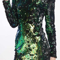 Green Long Sleeve Sequined Mini Dress