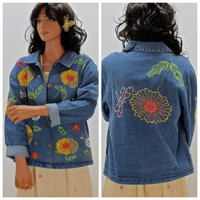 Vintage hippie denim jacket, size S / M, 80's embroidered, beaded, sequined jean jacket, bohemian flower denim jacket, Sunny Boho