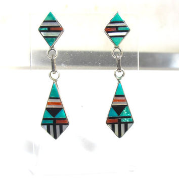 Southwestern Zuni Inlay Earrings, Native American Jewelry Turquoise Coral Black Onyx Mother Of Pearl, Vintage Sterling Dangle Drop Earrings