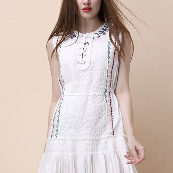Boho Rhythm Pleated Dress in White