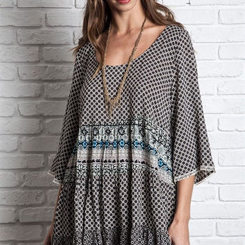 Mixed print peasant tunic with bell sleeves