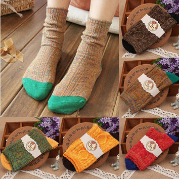 Feitong Vintage Fashion Autumn And Winter Women Casual Pile Of Socks Cotton Female Socks Women Socks