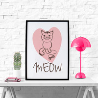 MEOW Cute Cat in pink heart - Printable Wall Art Decor, 8x10 Instant Download - Nursery Wall Art - Children's Room Decor - Kid's Room Decor