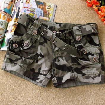 New Fashion Women Ladies Camouflage Denim Jeans Shorts Basic Loose Hot Short Pants Camo Shorts 06240916