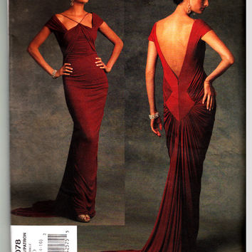 Vogue Designer Pattern 1078 Guy Laroche Evening Dress with front and back gathers and drapes For Stretch Knits Only