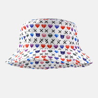 Emoji pattern white bucket hat