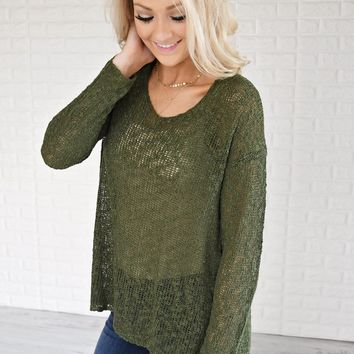 Essential Knit Evergreen Top