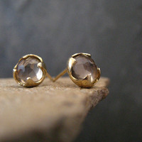 Smokey quartz studs, rose cut studs, faceted smoky quartz, round posts, cabochn earrings, gold posts, gemstone studs, smoky quartz studs