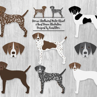 German Shorthaired Pointer Clipart Digital Hunting Dogs Illustration Liver Roan Black White Speckled Brown GSP Pet Faces Scrapbooking Images