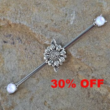 Daisy Industrial Barbell Opal Ends Scaffold Piercing 14ga Body Jewelry Piercing Jewelry 316L Surgical Stainless Steel