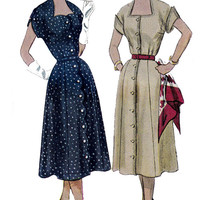 Dress with Scalloped front detail 1950s Vintage Sewing Pattern Simplicity 3589 Bust 34 UNUSED FF