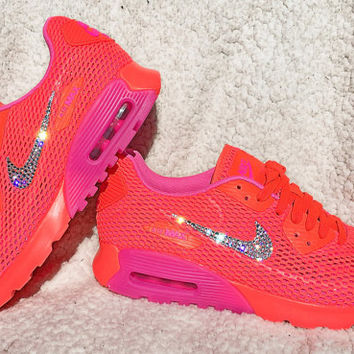 Crystal Nike Air Max 90 Ultra Breath Total Crimson Pink Blast Bling Shoes with Swarovski Elements Women's Running Shoes