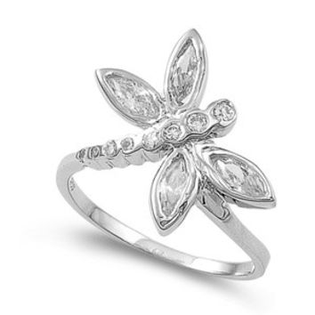 925 Sterling Silver CZ Glass Wings Dragonfly Ring 20MM