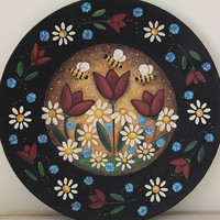 Folk Art Painting on Wood Plate - READY TO SHIP - Summertime design with Americana theme, tulips, bees, daisies, primitive patriotic  colors