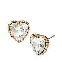 HEAVEN SENT CRYSTAL HEART STUD EARRINGS: Betsey Johnson