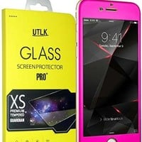 "iPhone 6 Colorful Screen Protector [Tempered Glass] Hot Pink, UTLK Fully Body Colored Tempered Glass Body Sticker 2.5D Round Edge 9H Hardness Full Body Premium Tempered Glass Screen Protector For iPhone 6 4.7 inch (I6 4.7"" Rose)"