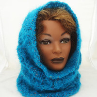 Mohair Snood, Handknitted Mohair Cowl, Knitt Mohair Hood, Neckwarmer in Aqua Blue, Snood in Aqua Blue,Lace Mohair Snood