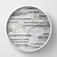 Black and White Birch Bark Wall Clock by Brooke Ryan Photography