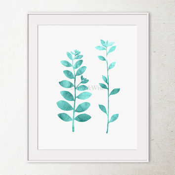 Printable wall art print, Bathroom wall decor, Nature wall art, Aquamarine Leaf Branches art, Modern wall print Teal wall art, Printable art
