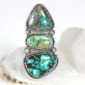 Turquoise Ring Turquoise Jewelry Triple Stone Ring Boho Jewelry Bohemian Jewelry Blue Stone Ring Gemstone Ring Big Stone Ring Size 7