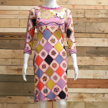 classic vintage highly collectable Emilio Pucci silk jersey stretchy dress 1960's