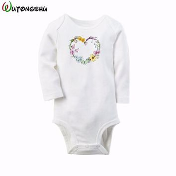 Cute Floral Baby Rompers Long Sleeve Cotton O-Neck 0-12M New Born Girls Body Suit Newborn Baby Jumpsuit Clothes For Shower Gift