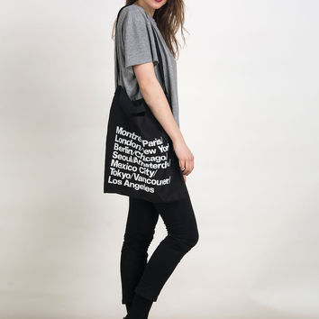 Black Letter Print Canvas Tote Shoulder Bag