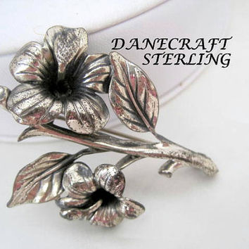 Sterling Silver Brooch - Signed Danecraft - Hibiscus Flower Pin