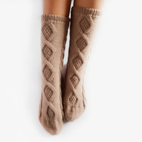 FREE SHIPPING Hand Knit Socks, Womens Wool Socks, Knee High Socks, Beige Leg Warmers, Cable Knit Socks