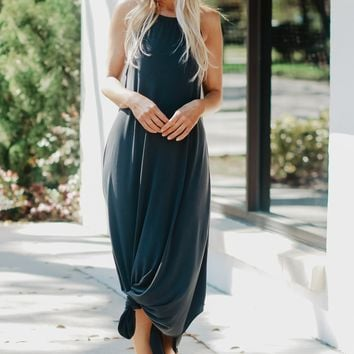 High Neck Classic Maxi Dress Black