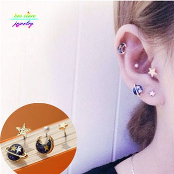 More Colors ! 2016 New Japanese Zipper Style Punk Planet Universe Moon Multi Pierced Stud Earrings For Women Fake Piercing Set