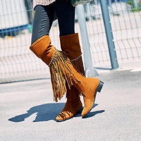 Up to Size 10.5 - Fringe Over the Knee Riding Boot