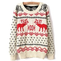 Fawn Christmas Sleeved Big Yards Sweater BBBH
