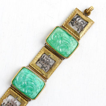 Antique Brass & Silver Peking Glass Panel Bracelet- Vintage 1930s Art Deco Asian Japanese Costume Jewelry