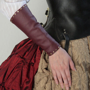 Steampunk/Renassiance Leather Arm Bracers by SteamerTrunkTreasure