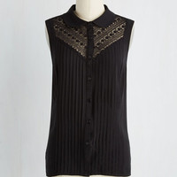Winsome in the Willows Sleeveless Top in Black | Mod Retro Vintage Short Sleeve Shirts | ModCloth.com