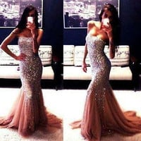 Sexy champagne Mermaid Long Prom Dresses Formal Evening Party dress Ball Gown