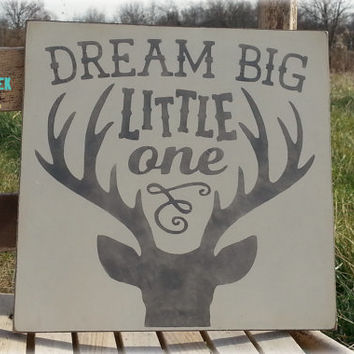 "Deer Nursery Decor, ""Dream Big Little One"", Deer Head Wood Sign, Rustic Nursery Decor"
