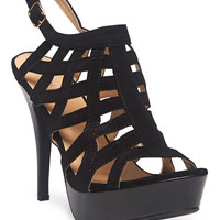 Faux Suede Caged Heels | Wet Seal