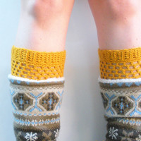 Crochet Boot Cuffs in Mustard, wool blend, ready to ship.