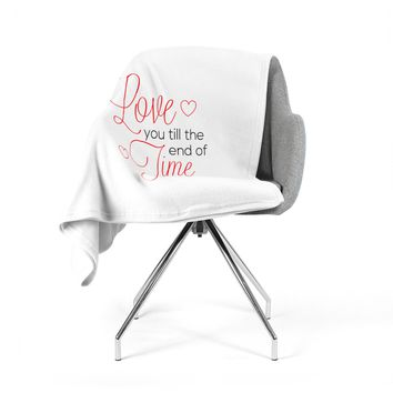 "NL Designs ""I Will Love You"" White Red Fleece Throw Blanket"