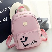 Cute Smile Face Black Pink Solid College Backpack