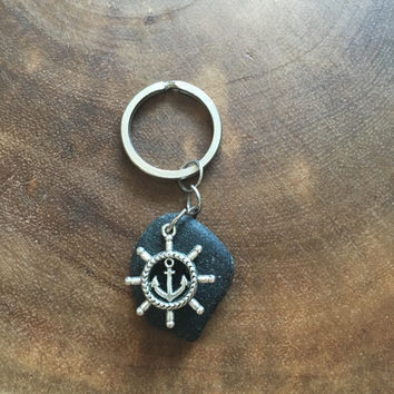 Captains Wheel Key Chain, Anchor Key Chain, Black Beach Stone Key Chain, Sailing Gift, Fathers Gift