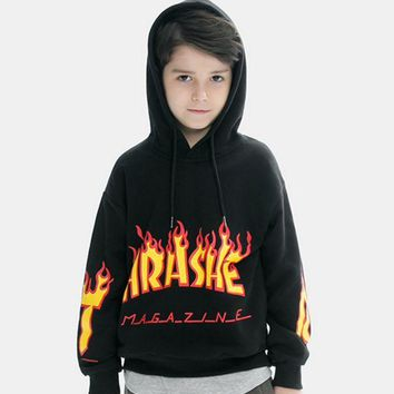 ONETOW THRASHER  baby  The big boy children sweater sleeve head flame Monogrammed Hoodie