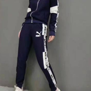 """""""PUMA"""" Woman's Leisure Fashion Letter Printing Zipper Spell Color Long Sleeve Tops Trousers Two-Piece Set Casual Wear Sportswear"""