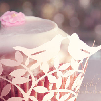 Love Birds Silhouette Wedding Cupcake Wrapper 10 pcs, DIY Wedding Decoration details, Party Cupcake Decor, Cupcake Decor