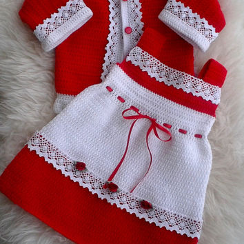 Luxurious Baby Girl Crochet Cardigan and Crochet Dress in Red and White Decorated with White Lace, Baby Shower Gift, Baby Christmas Outfit