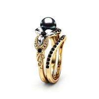 Black Pearl Engagement Ring Set White Gold Ring Flower Engagement Ring Gold Pearl Ring